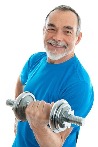 Senior Man Holding a Weight